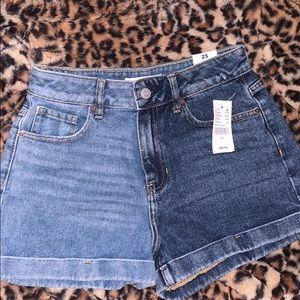 Pacsun colorblock denim mom shorts 💙